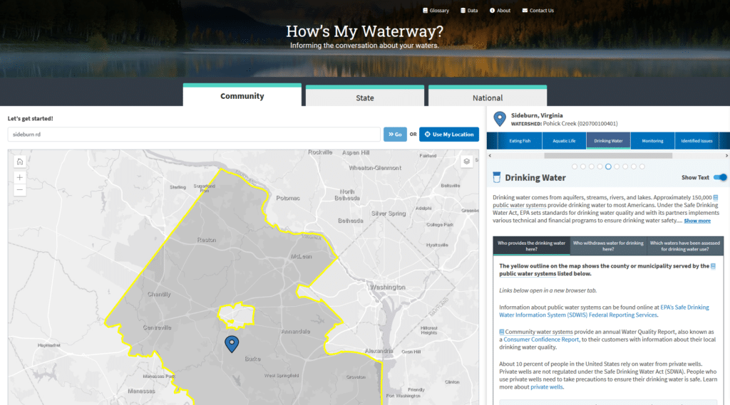 EPA Releases How's My Waterway Data Transparency Tool