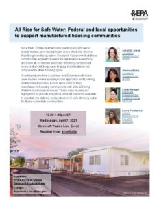 EPA Webinar on Supporting Safe Water at Manufactured Housing Communities
